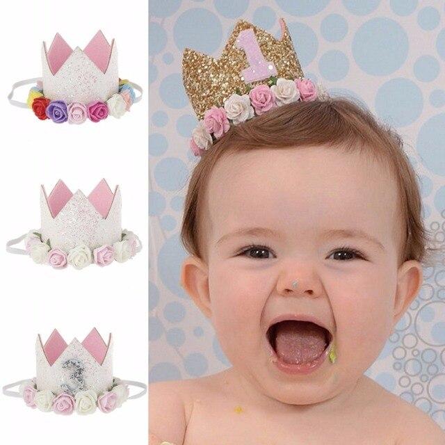 Baby Princess Tiara Crown Kids First Birthday Hat Sparkle Gold Flower Style 1 2
