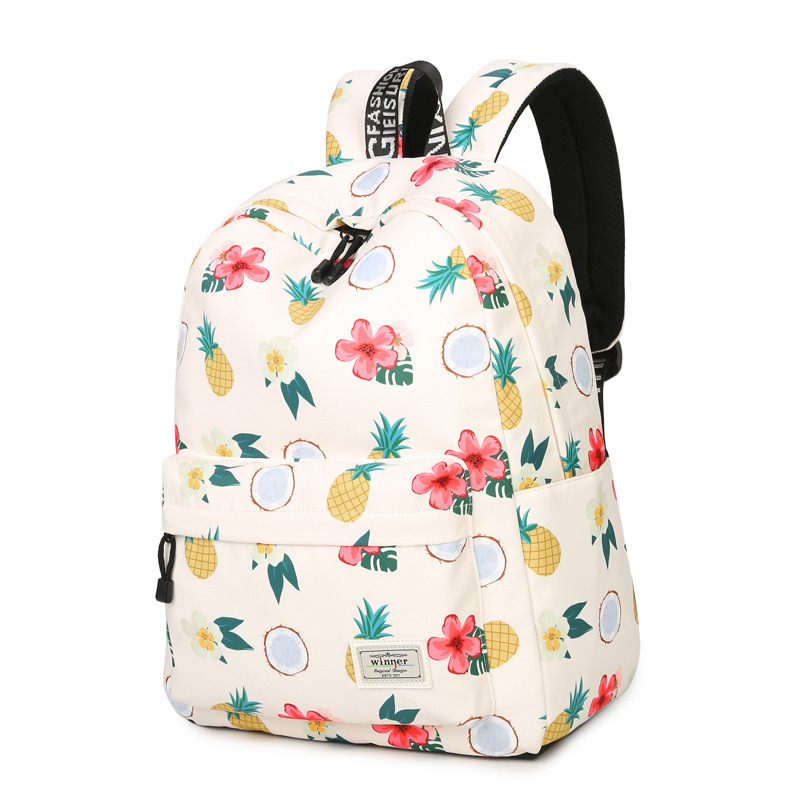2017 New Flowers And Fruits Pineapple Printing Backpack Summer Style Fresh Kawaii Mochila School Bags Canvas Laptop Backpack ...