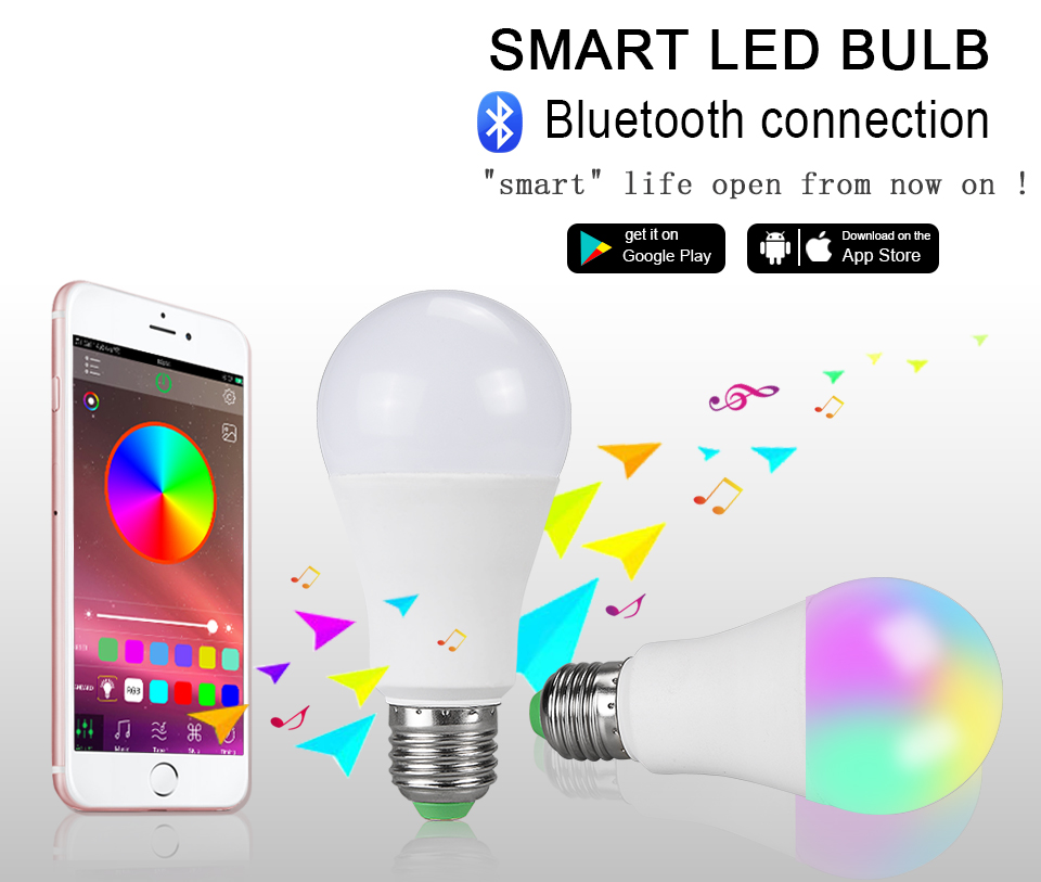 15W 20W 85-265V  RGBW LED Light Bulb Music Control 20 Modes Apply to IOS Android (1)