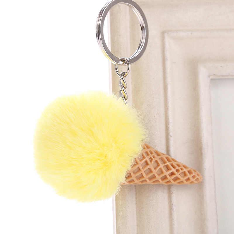 Bola de pele sorvete cone chaveiro acrílico peludo chaveiro chaveiro pompon mochila feminina sacos ombro pingente 6c1228