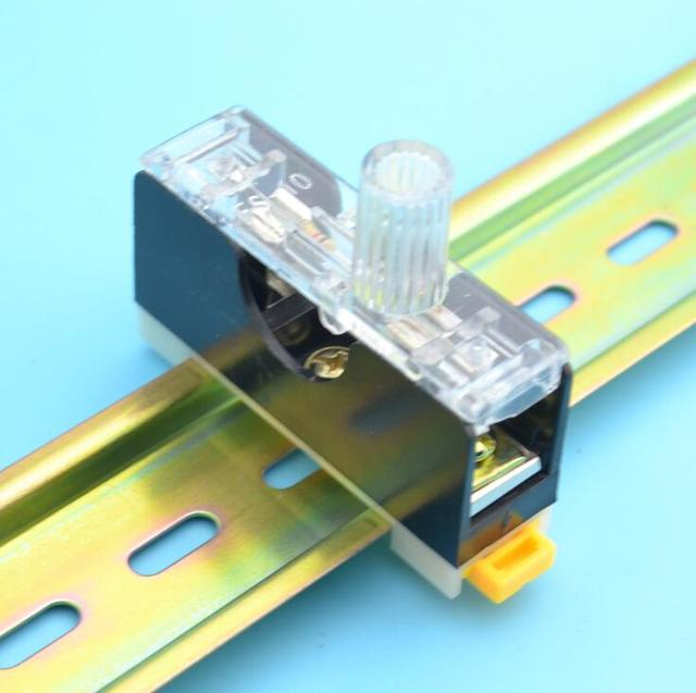 2pcs 35mm Din Rail 6x30mm Glass Fuse Holder Single Guide