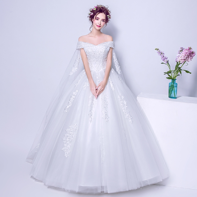Beauty Emily Luxury Pears Ball Gown White Plus Size Wedding Dresses ...