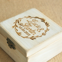 Personalized Wood Art Wedding Jewelry Ring Box