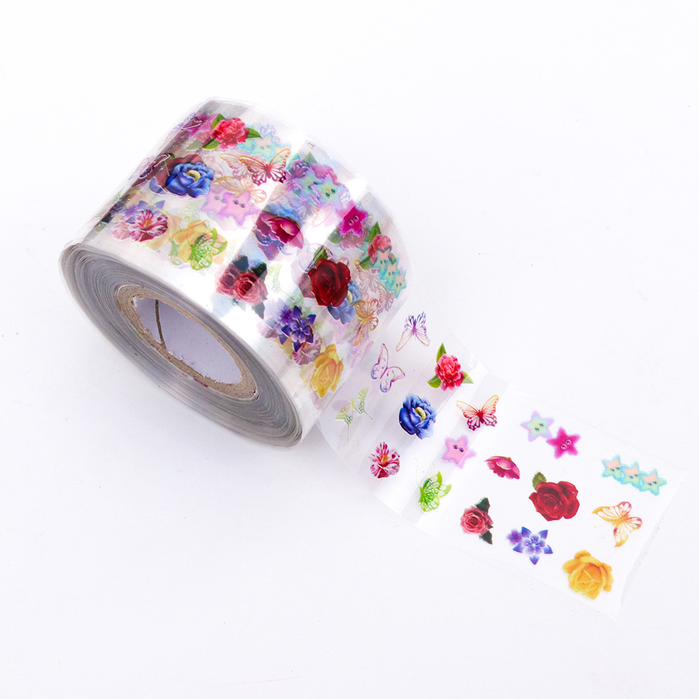 8 롤/세트 네일 아트 전송 포일 스티커 투명한베이스 3.8x120m 다채로운 꽃 네일 슬라이더 액세서리 장식 tr690-에서스티커 & 디캘즈부터 미용 & 건강 의  그룹 3