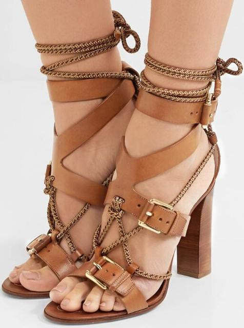 Brown Leather Straps Women Buckles Sandals Cut Out Style Ladies Chunky Heel  Sandals Female Lace Up Sandals Summer Hot