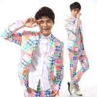 S-5XL!!! 2018 Multicolore plaid set vestito dei vestiti dj ds costume cantante Vestito di abbigliamento di grandi cantieri