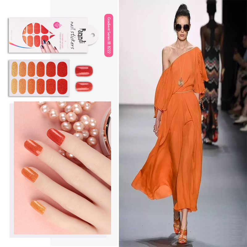Last 15 Days 14 Colors Artificial Nail Polish Paper Printing Fake Tips Stickers For Nails Extensions Finger Foot