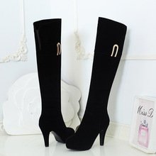 New Warm Winter Casual Shoes Black Suede Stiletto Knee High Women's Round Toe Martin Boots Side Zipper