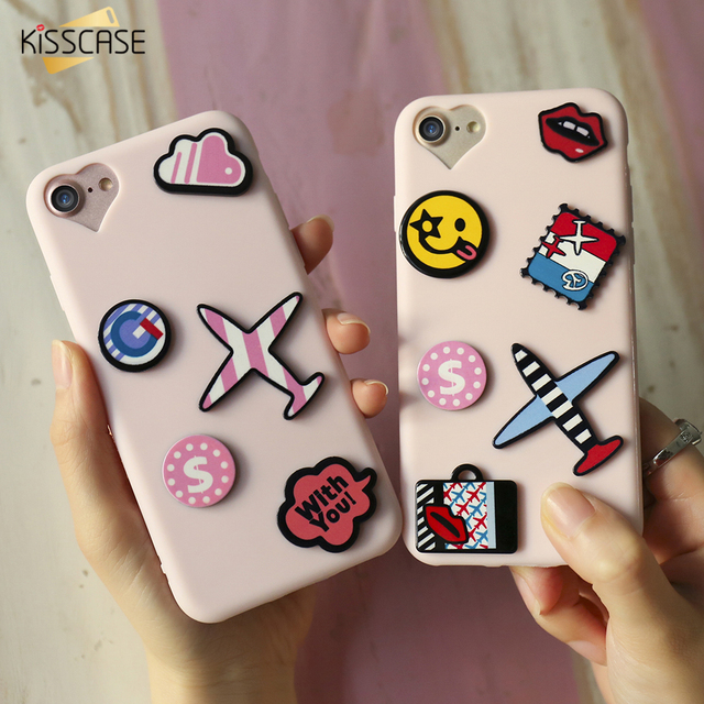 KISSCASE Case For iPhone 7 Plus Soft TPU Cover For iPhone 6 6s Plus 3D Cartoon Plane Women Girly Phone Cases For iPhone 7 7 Plus