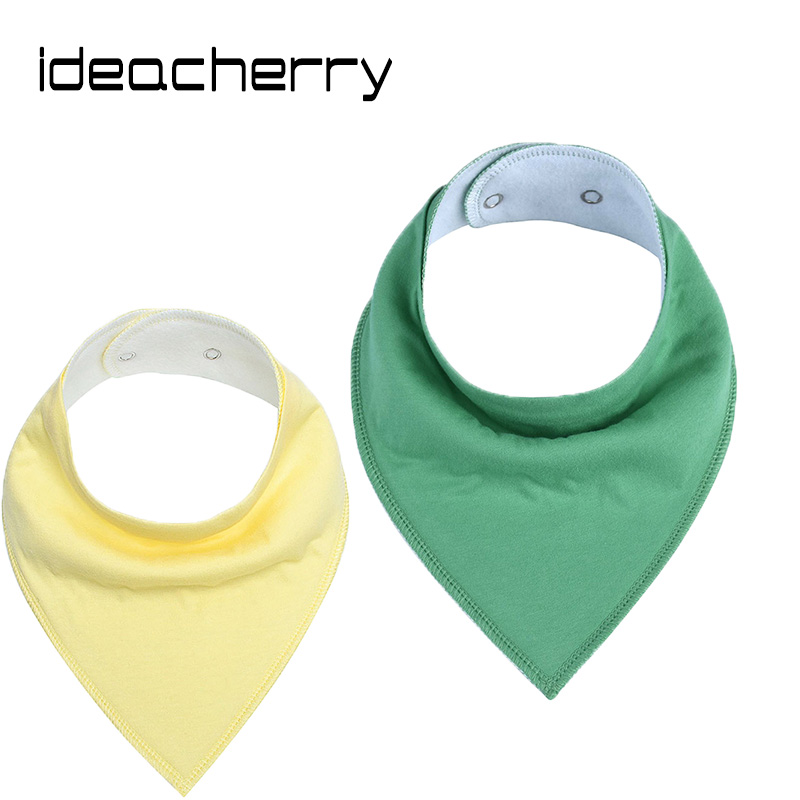ideacherry Brand Toddler Baby Product Nursing Towel Solid Color Baby Bibs Baby Triangle Towel Button Bibs Pinafore For 1-3 Year