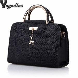 Image 1 - Модная сумка 2020 Новая женская кожаная сумка, вместительные сумки на плечо, повседневная сумка тоут, простые ручные сумки с верхними ручками, декор в виде оленя