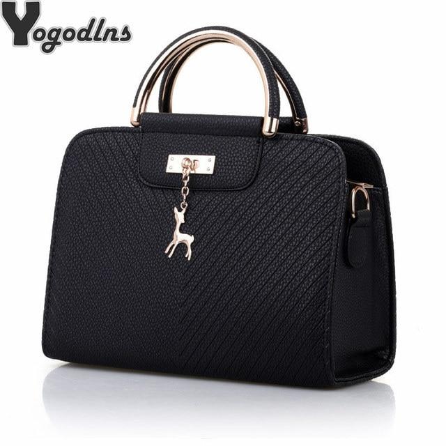 Модная сумка 2020 Новая женская кожаная сумка, вместительные сумки на плечо, повседневная сумка тоут, простые ручные сумки с верхними ручками, декор в виде оленя