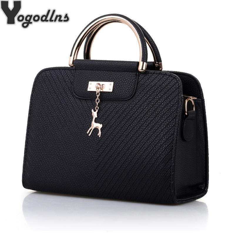Fashion Handbag 2019 New Women Leather Bag Large Capacity Shoulder Bags Casual Tote Simple Top handle Hand Bags Deer Decor-in Shoulder Bags from Luggage & Bags