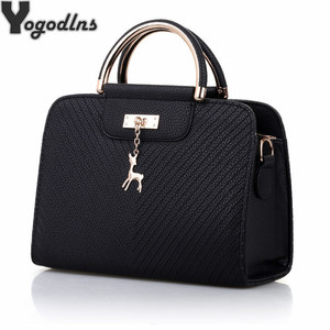 Image 1 - Fashion Handbag 2020 New Women Leather Bag Large Capacity Shoulder Bags Casual Tote Simple Top handle Hand Bags Deer Decor