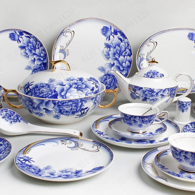 Bone china tableware 107 coffee new classic blue and white porcelain tableware glaze blue