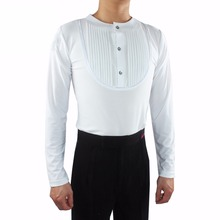 Discount New Latin Dance Shirts For Males White Black Tops Man Males Comfortable Wears Adult Presentation