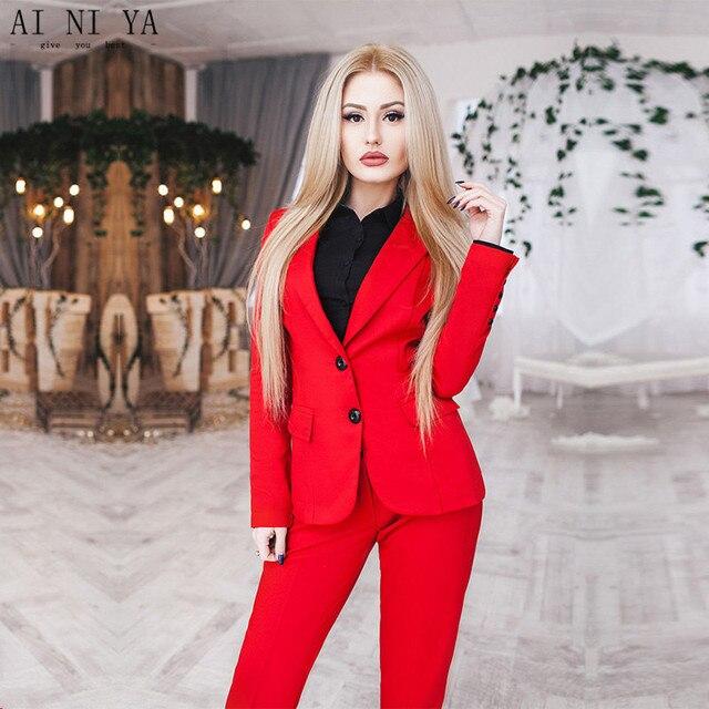 0030a904f291 Rosso Donna D affari Vestiti di Autunno Inverno Moda Femminile Elegante  Formale Uniform Ufficio Signore