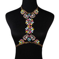Moda de luxo de ouro das mulheres colar corpo cadeia de cintura cadeia pingente de cristal flor choker declaração colar acessórios jóia