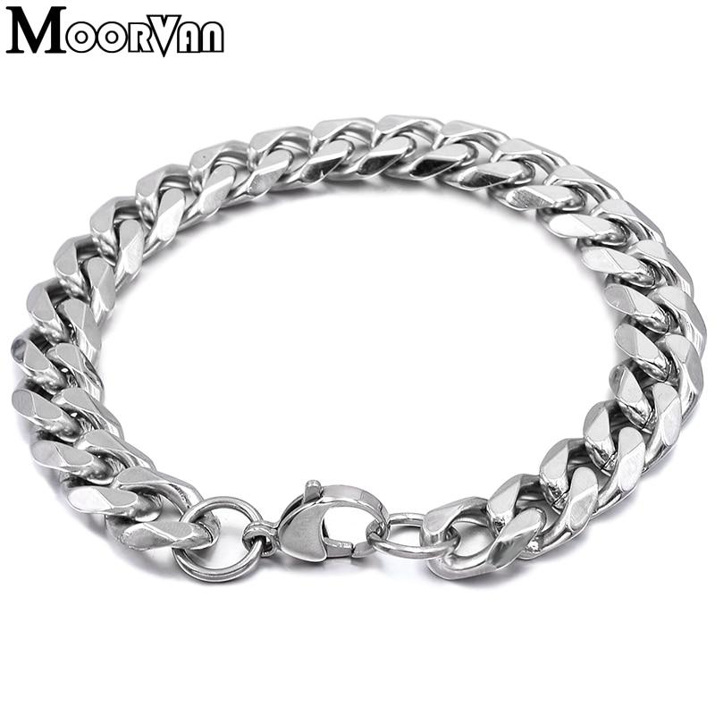 Moorvan Jewelry Men Bracelet Cuban links & chains Stainless Steel Bracelet for Bangle Male Accessory Wholesale B284 35