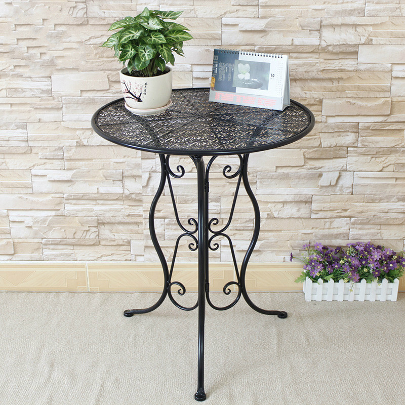 metal small round leisure tea table corner balcony coffee. Black Bedroom Furniture Sets. Home Design Ideas