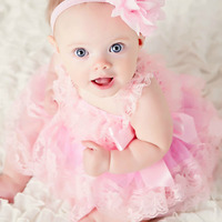 Cute Baby Girl Clothing Pink Flower Girl Dresses Infant Wedding Party Dress Lace Chiffon Dress Toddler