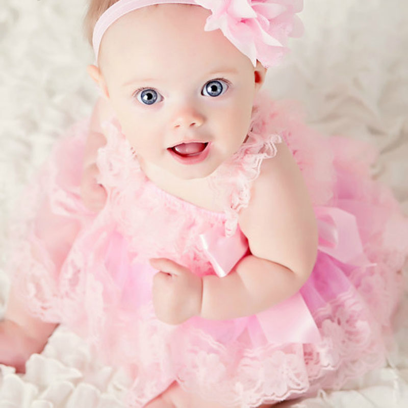 1ba313885f05 Cute Girl Clothes Pink Flower Girl Dresses Infant Wedding Party ...