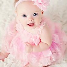 Cute Baby Girl Clothing Pink Flower Girl Զգեստներ Նորածինների Հարսանեկան երեկույթ զգեստ Lace Chiffon Dress Toddler Ծննդյան ծննդյան Patry զգեստ