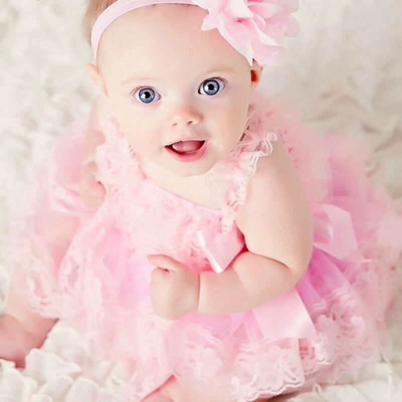 ≧Niña linda Rosa vestidos de niña bebé boda gasa del cordón del ...