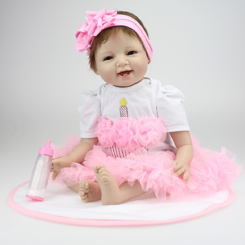 Nicery 20-22inch 50-55cm Bebe Reborn Doll Soft Silicone Boy Girl Toy Reborn Baby Doll Gift for Child White Pink Dress Hat Doll [mmmaww] christmas costume clothes for 18 45cm american girl doll santa sets with hat for alexander doll baby girl gift toy