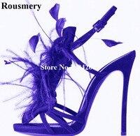 Roumery Красивые перо оставляет шипованных Для женщин летние сандалии на ремнях Slingback высокий каблук Этап Ночной клуб полосы обувь Для женщин
