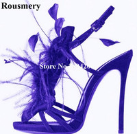 Roumery Beautiful Feather Leaves Studded Women Summer Strappy Sandals Slingback High Heel Stage Nightclub Strip Shoes Women