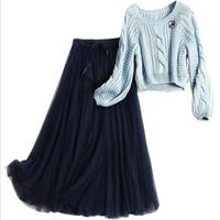 New Fashion Designer Clothing Set 2018 Autumn Winter Women O Neck Knit Tops Sweater+Ankle Length Mesh Skirt