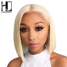 Wig Brazilian Lace-Front-Wig Blonde Short Bob Human-Hair Transparent 13x6 Black Women