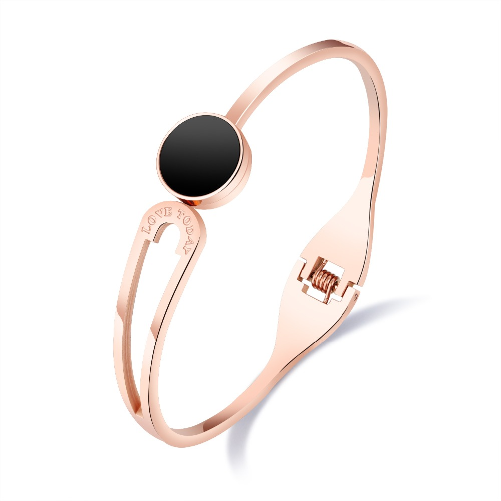 Fashion Open Cuff Bangle for Woman Rose Gold 316 L Titanium steel Valentine's Girlfriend bracelet Jewelry Gift Watch accessories