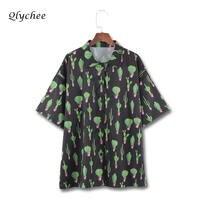 Qlychee Streetwear Casual Krótki Rękaw Koszulka Kobiet 2018 Top Blusas Kaktus Druku Skręcić w dół Kołnierz Moda Bluzka Kobiet