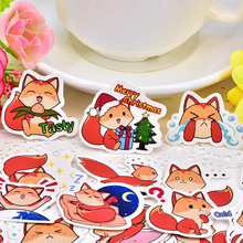 40pcs Photo paper  Cute little Cartoon Fox Sticker Scrapbooking Decorative DIY  decoration /waterproof  stickers