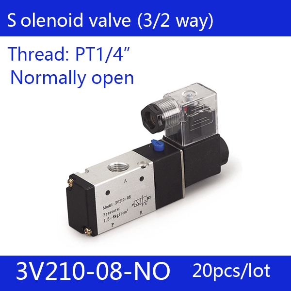 free shipping g3 4 stainless steel solenoid valve 2w200 20 no normally open for acid water air oil dc12v dc24v ac110v 20PCS Free shipping good quality 3 port 2 position Solenoid Valve 3V210-08-NO normally open,have DC24v,DC12V,AC110V,AC220V