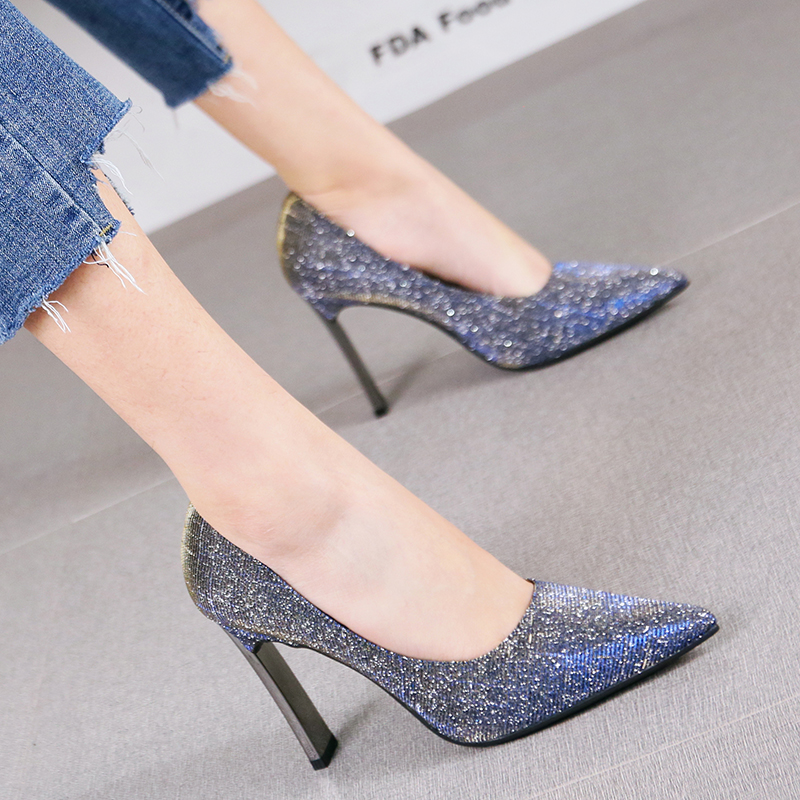 2019 New Elegant Dress Party Thick With Shallow Mouth High Heels Temperament Banquet Single Shoes Fashion Sexy Women's Pumps