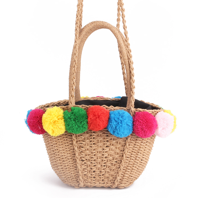 2018 Bubble Color ball Straw Bag Summer Lace Ball Bohemia Fashion Women s  Handbags Casual Shoulder Bags Beach Bag Big Tote Bag a2f43c8086