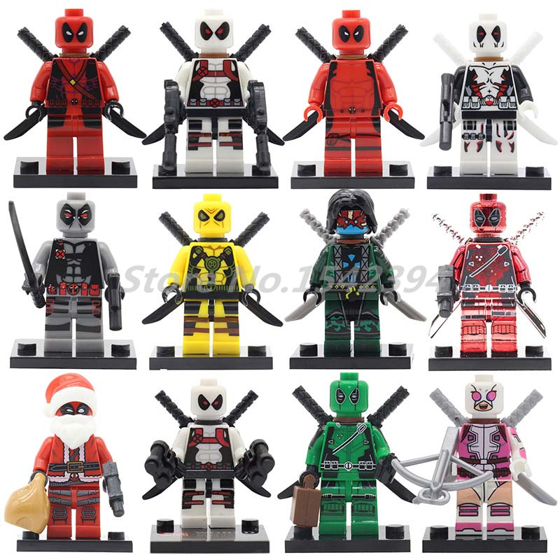 Single Sale Deadpool Super Heroes Action Figure The Avengers Building Blocks Bricks Christmas Gwenpool Deadpool Green Toys Gifts moc the iron man work station hall of armor war machine super heroes avengers building blocks kids toys not include minifig