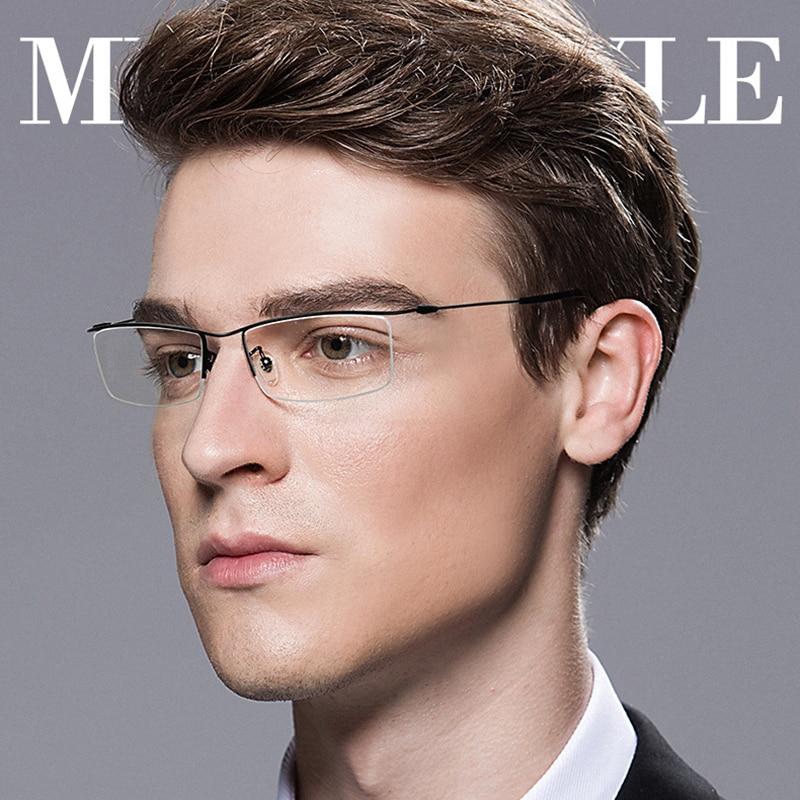 79a89543e Browline نصف حافة التيتانيوم نظارة بإطار معدني إطار للرجال النظارات الأزياء  بارد البصرية نظارات رجل وصفة