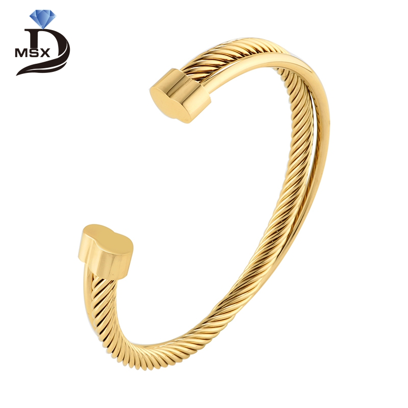 Rose Gold Color Cuff Bangle Bracelet for Woman Man Stainless Steel Wire Wistband Simple European Trendy Female Jewelry Gift