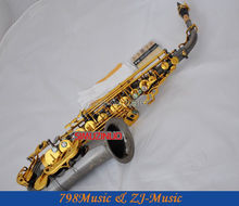 Pro. Black Nickel Eb Alto Saxophone Double Rails Sax Low C and B Abalone Key New