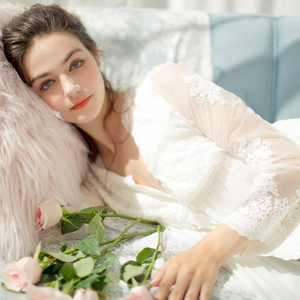 Image 4 - Lace Robe Long Robe Lady White Lace Embroidery Robe and Slip Two Pieces For Women Robe Sleepwear Bride