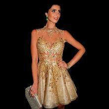 Chic gold appliques pailletten mini prom dress tattoo kurze cocktail party kleider durch gold kleider mini vestidos de baile