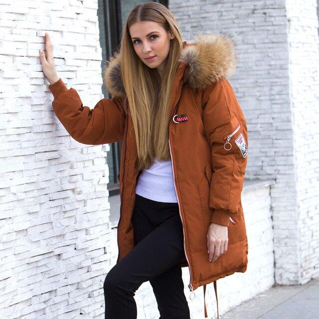 Big Promo Winter Jacket Women 2018 Brand Big Raccoon Fur Collar Hood Female Coat Long Slim Warm Real Fur Jacket Winter Parka For Women