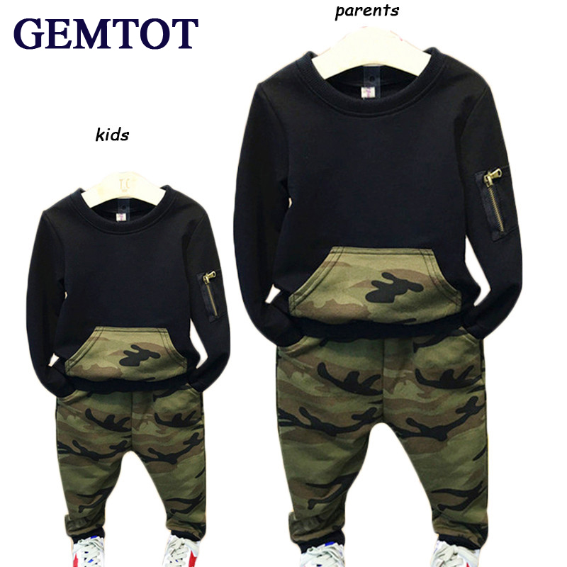 GEMTOT Cool Boys Clothing Sets 2017 Autumn Kids Sport Suit Full Sleeves Blouse + Camouflage Pants Suits Kids Tracksuits k1 цена