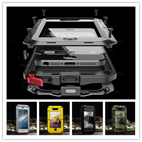 new product a7a10 b8fca US $16.99 |Luxury Doom Armor Shock Dropproof Metal Case for iPhone X XS Max  8 7 6 6S Plus 5 5S SE with Gorilla Glass Aluminum phone Shell-in ...