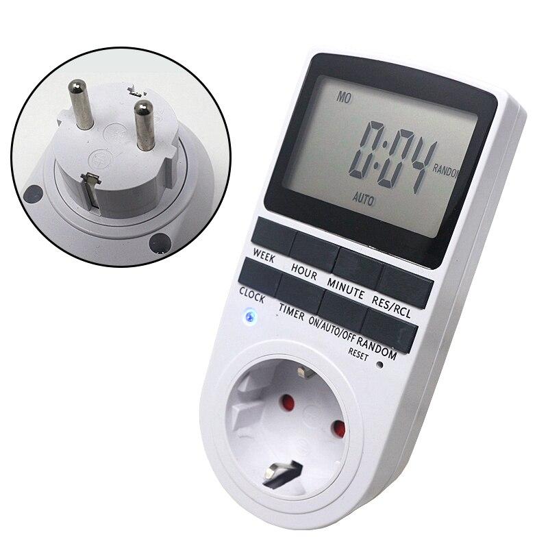 EU Plug-in Programmierbare Timer Schalter Buchse 230 v 50 hz Mit Sommer Zeit Zufällig Funktion Für Küche Timer schalter