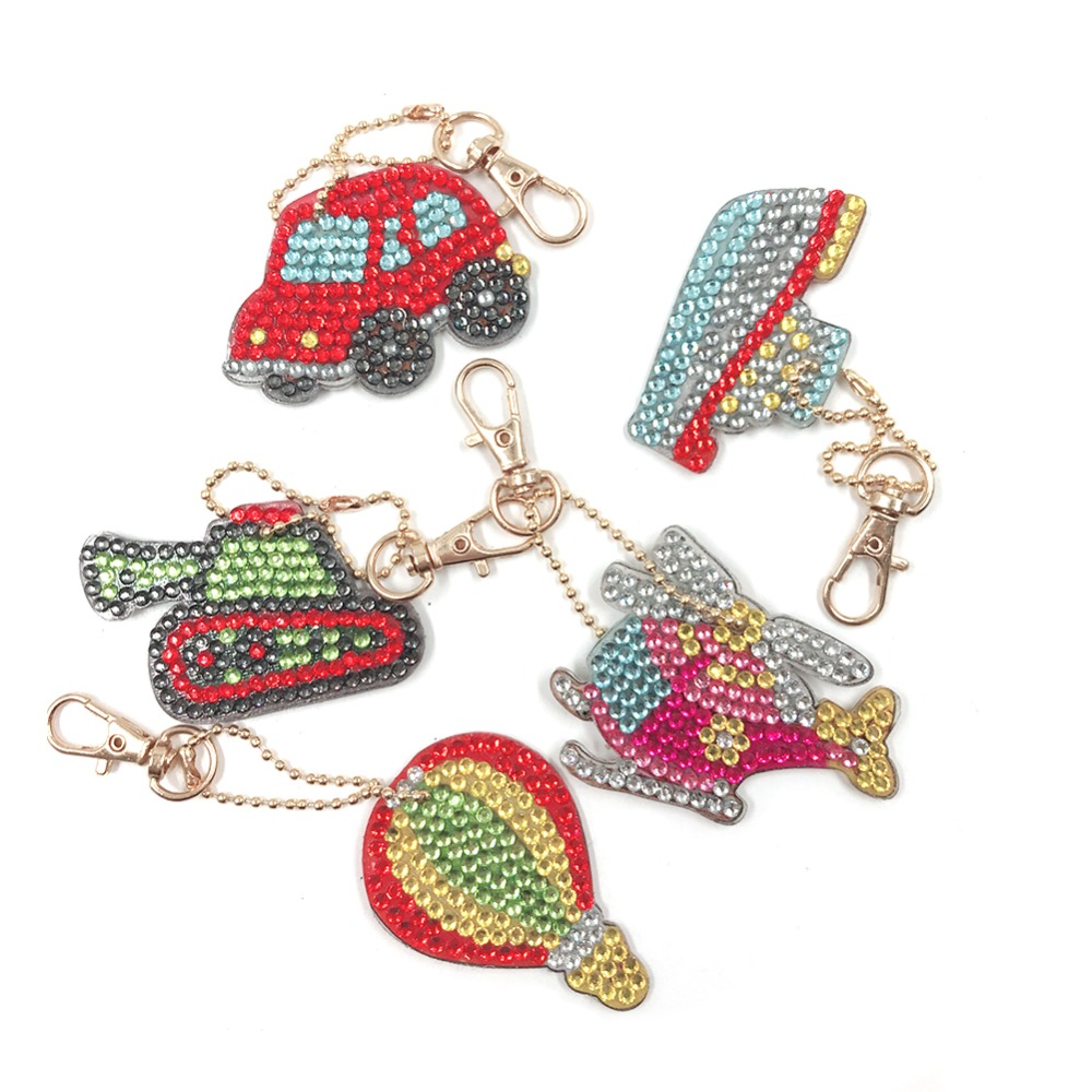 5pcs/set Diy Full Drill Diamond Painting Key Chian Keyring Traffic Car Embroidery Cross Stitch Craft Keychain Diamond Mosaic Fine Quality
